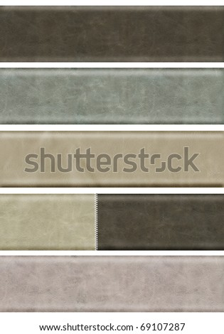 Collection of five leather banners. Isolated over white