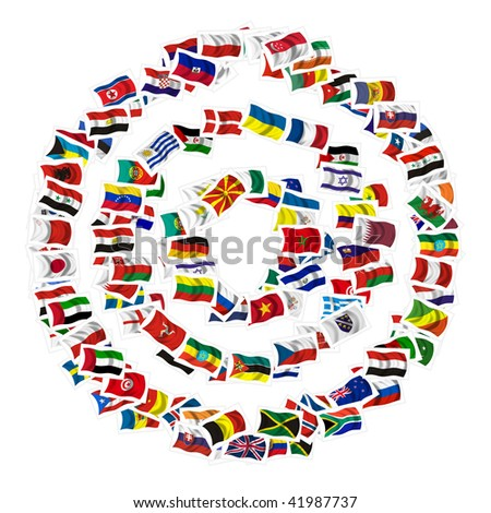 Collection of Flags on a withe background