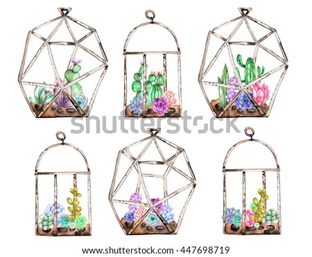 Collection of florariums with watercolor succulents and cuctuses inside, hand drawn isolated on a white background