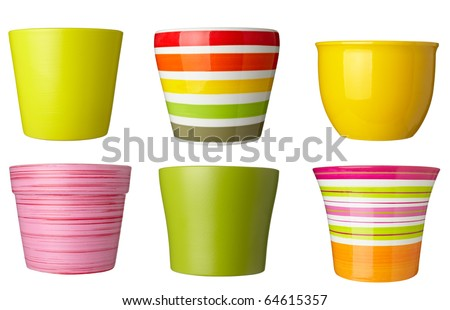 collection of   flowerpots  on white background. each one is shot separately