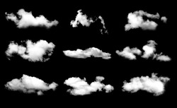 Collection of fog, white clouds or haze For designs isolated  on black background