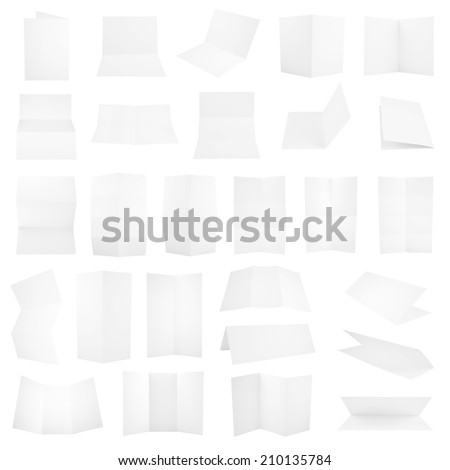 Collection of folded A4 paper clean copyspace sheets isolated over white background, set of 27 different foreshortenings #210135784