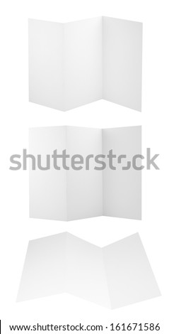 Collection of folded A4 paper clean copyspace sheets isolated over white background, set of three different foreshortenings