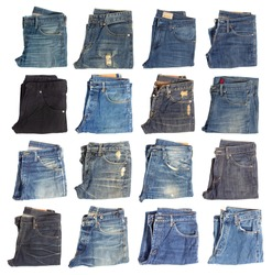Collection of folded jeans isolated on white background