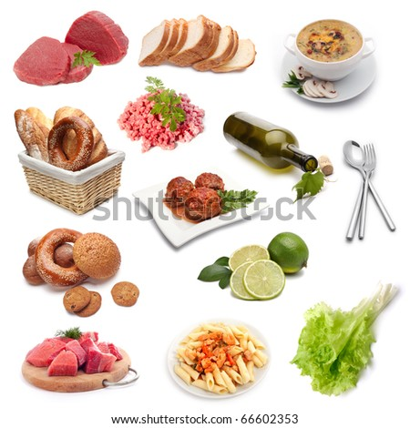 collection of food isolated