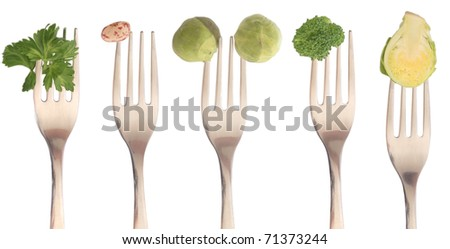 collection of forks with vegetables, diet concept