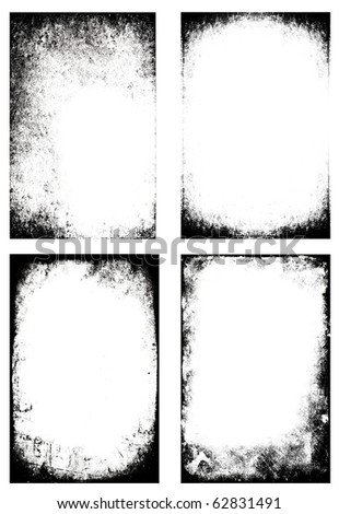 Collection of four black and white grunge frames