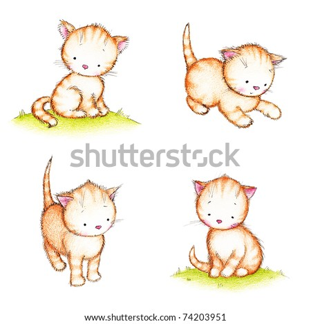 collection of four cute kittens on white background