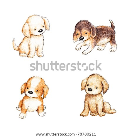 collection of four cute puppies on white background