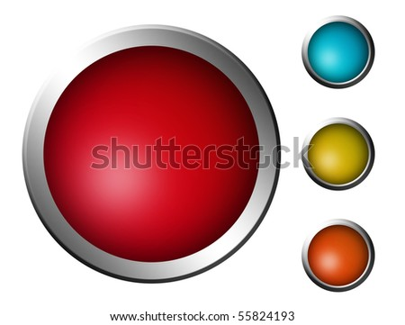 Collection of four glossy button in various colors over white background. Illustration
