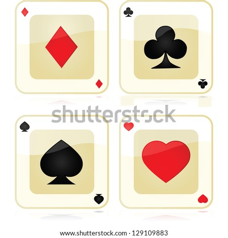 Collection of four glossy playing card icons, reflected over a white surface