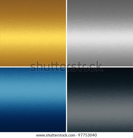 collection of four metal textures backgrounds - gold, blue, silver and black