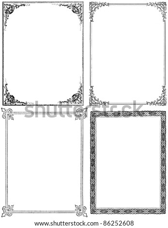 Collection of four moderately distressed fancy frames from the nineteenth century. Black isolated on white. Each approximately 9x7 inches.