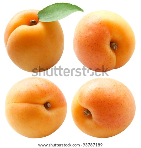 collection of fresh apricots with green leaf isolated on white background