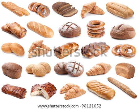 Collection of fresh bakery photos isolated on white