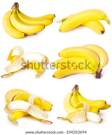 collection of fresh bananas isolated on white background