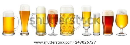 Collection of fresh beer on white background