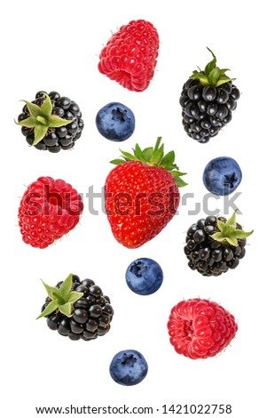 Collection of fresh berries isolated on white background #1421022758