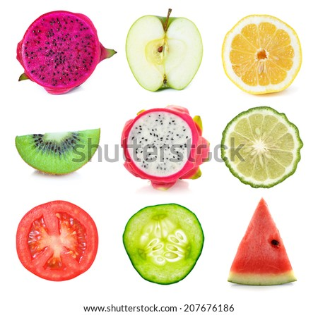 Collection of fresh fruit and vegetable slices on white background.  #207676186
