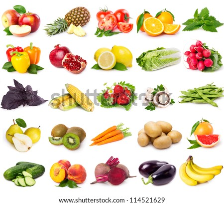 collection of fresh fruits and vegetables isolated on white