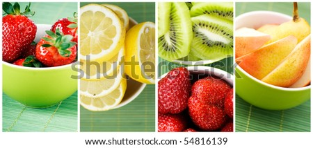 collection of fresh fruits in small green bowl - stock photo