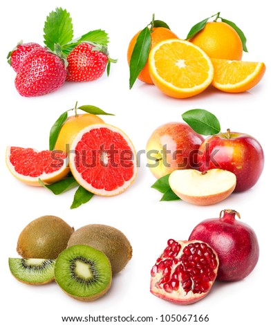 collection of fresh fruits isolated on white background
