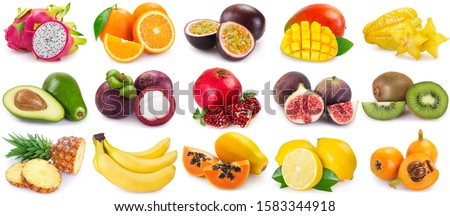 collection of fresh fruits isolated on white background. fruit collage.