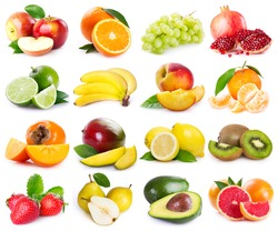collection of fresh fruits on white background