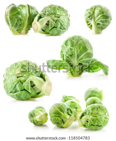 Collection of Fresh green Brussels sprouts isolated on white background