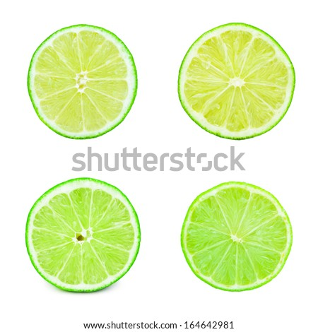 Collection of fresh green limes isolated on white background #164642981