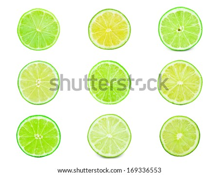 Collection of fresh green limes isolated on white background #169336553