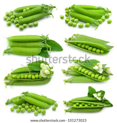 Collection of fresh green peas on white