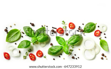 collection of fresh herbs and spices isolated on white background, top view - Shutterstock ID 647233912