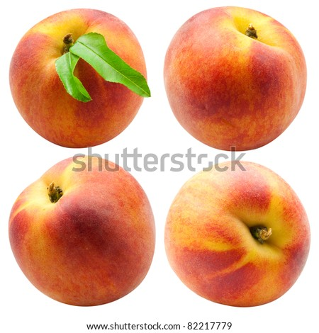 collection of fresh peach fruits with green leafs isolated on white background