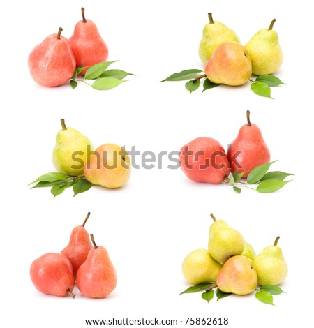 collection of fresh pear fruits