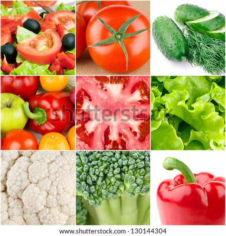 Collection of fresh vegetable backgrounds