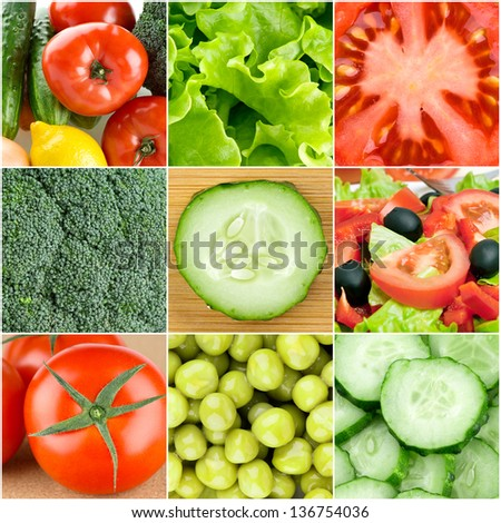 Collection of fresh vegetable backgrounds #136754036