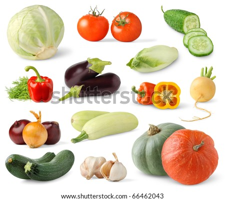 Collection of fresh vegetables isolated on white