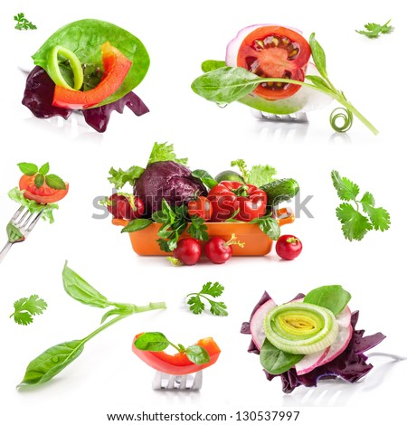Collection of Fresh vegetables isolated on white background #130537997