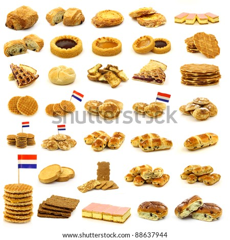 collection of freshly baked cookies,cakes,buns and other pastry on a white background