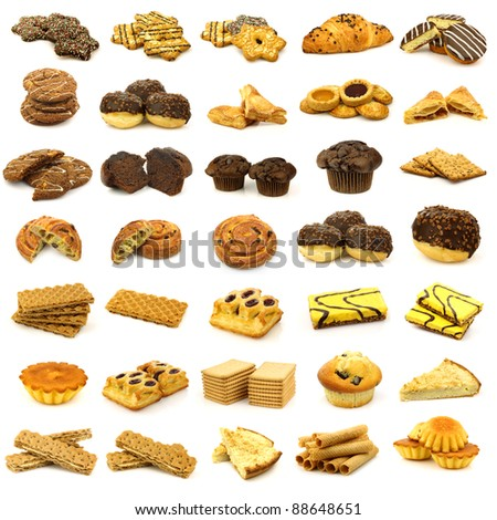 collection of freshly baked cookies, muffins, pies, rolls and other pastry on a white background