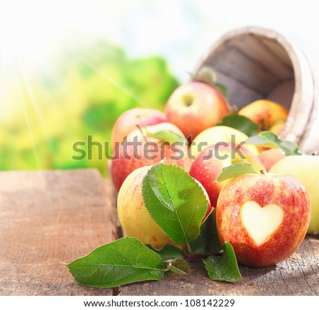 Collection of freshly picked ripe red apples with one in the foreground with a neatly incised heart shape in the skin