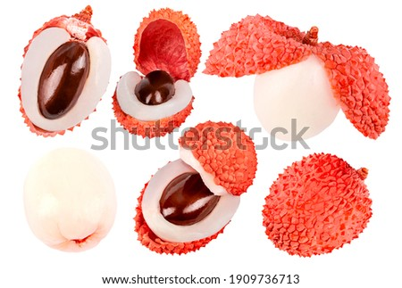 Collection of fruit. Different shapes of fresh wole and cut prickly pears cactus fruits isolated on white background with clipping path. High resolution image. Perfectly retouched fruit. Zdjęcia stock ©
