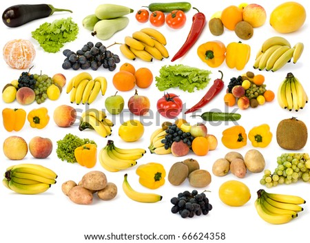 collection of fruit on a white background