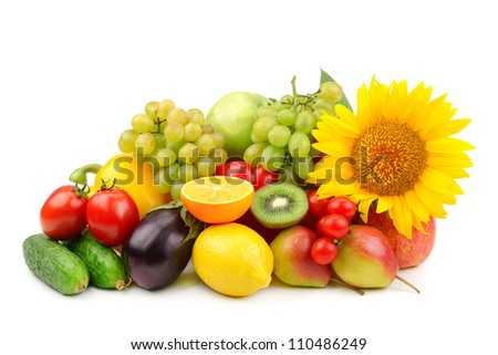 collection of fruits and vegetables isolated on a white background