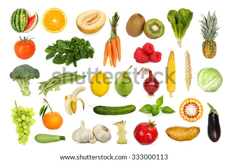 collection of fruits and vegetables isolated on white #333000113