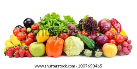 Collection of fruits and vegetables isolated on white background for your project. Copy space