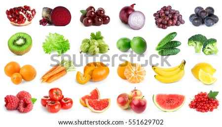 Collection of fruits and vegetables on white background. Fresh food #551629702