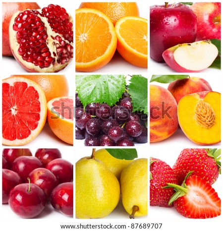 collection of fruits, close-up - Shutterstock ID 87689707