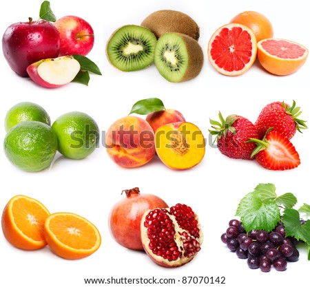 collection of fruits on white background
